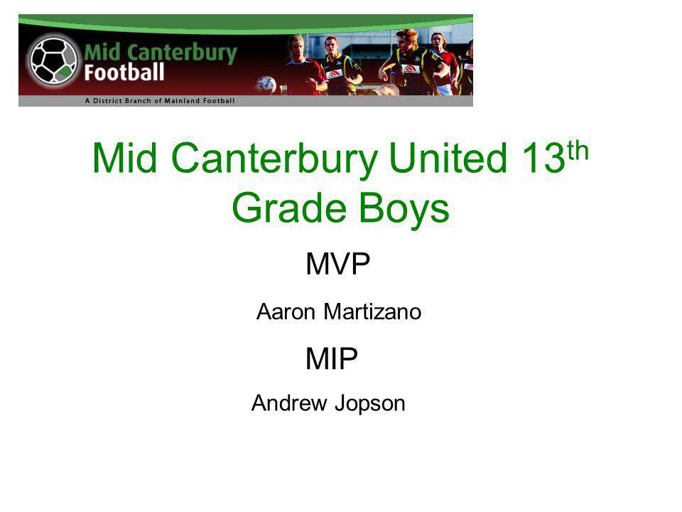 Mid Canterbury United 13 th Grade Boys MVP Aaron Martizano MIP Andrew Jopson