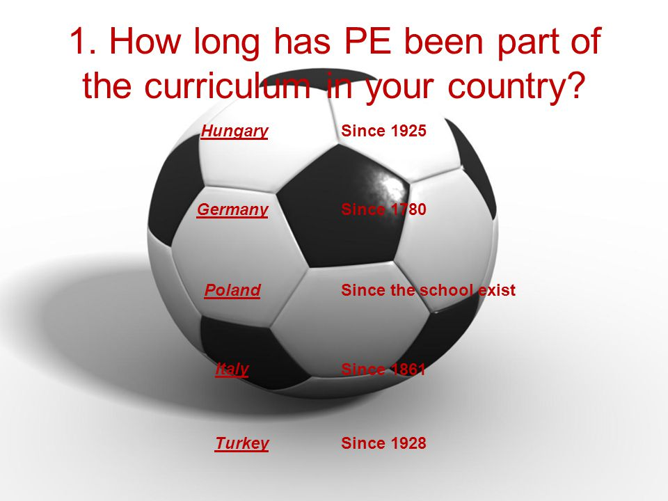 1. How long has PE been part of the curriculum in your country.