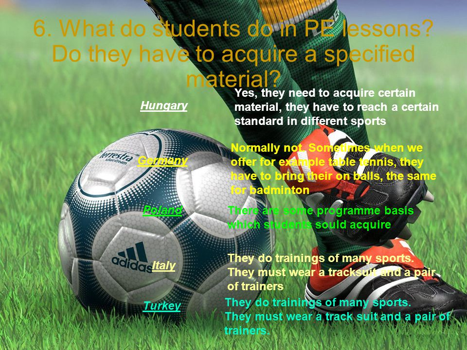6. What do students do in PE lessons. Do they have to acquire a specified material.