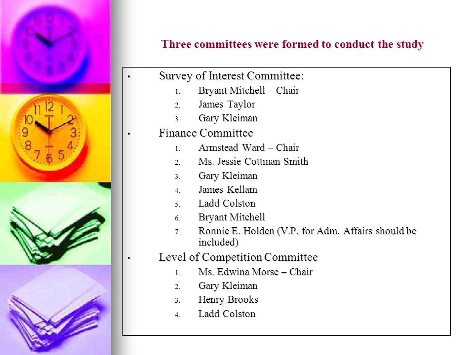Three committees were formed to conduct the study Survey of Interest Committee: Survey of Interest Committee: 1.