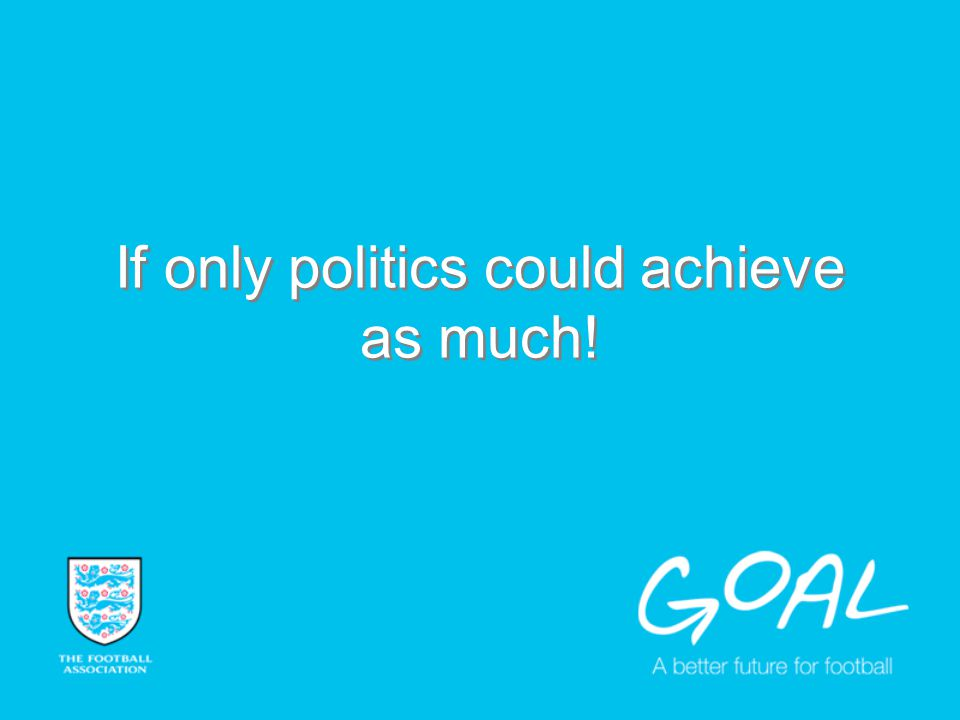 If only politics could achieve as much!
