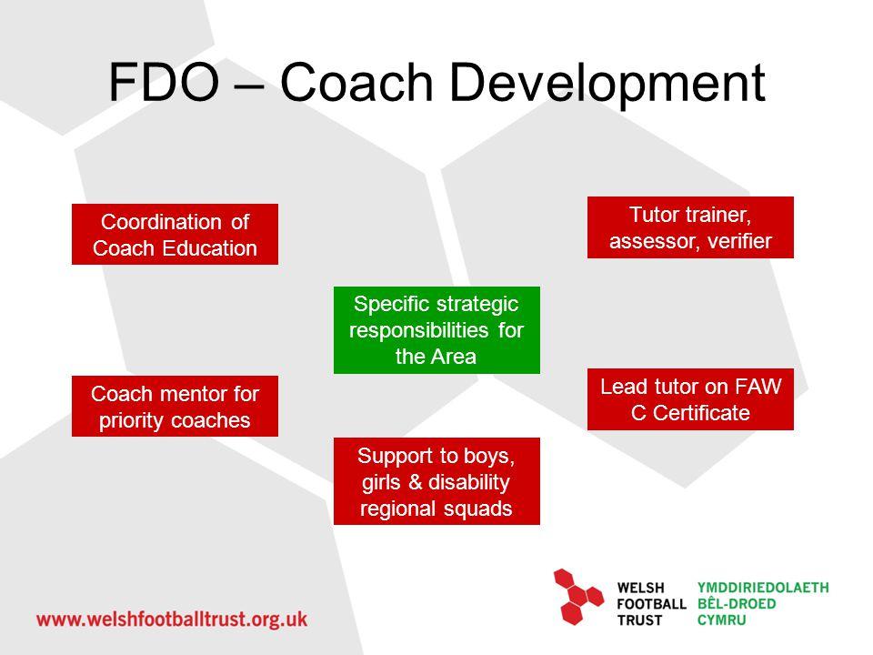 FDO – Coach Development Specific strategic responsibilities for the Area Coordination of Coach Education Tutor trainer, assessor, verifier Coach mento