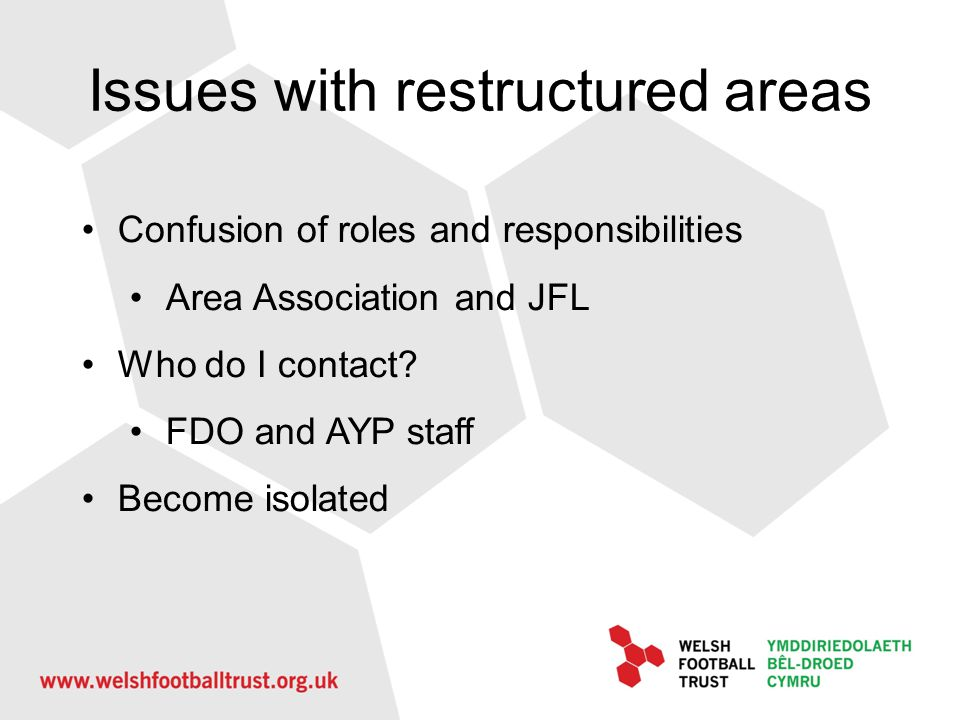 Issues with restructured areas Confusion of roles and responsibilities Area Association and JFL Who do I contact? FDO and AYP staff Become isolated