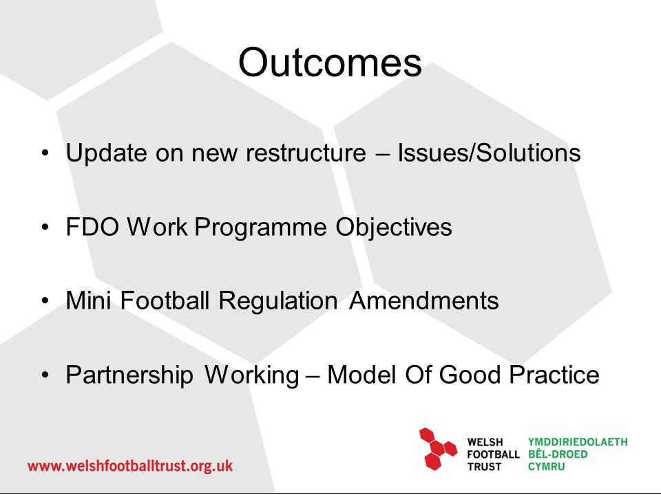Outcomes Update on new restructure – Issues/Solutions FDO Work Programme Objectives Mini Football Regulation Amendments Partnership Working – Model Of