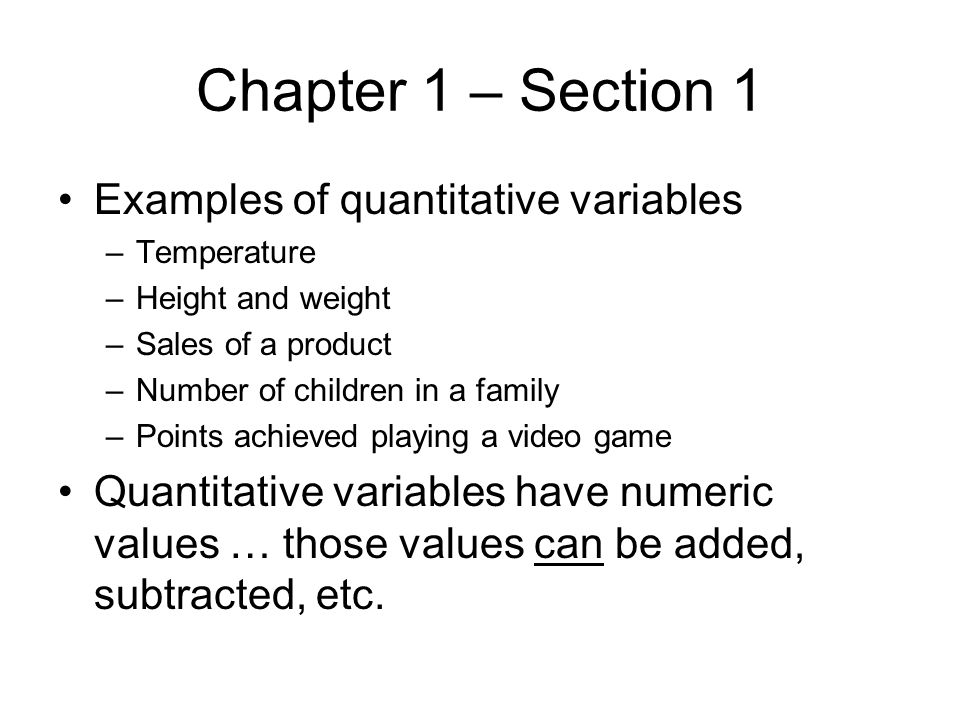 Summary: Chapter 2 – Section 1 Qualitative data can be organized in several ways –Tables are useful for listing the data, its frequencies, and its relative frequencies –Charts such as bar graphs, Pareto charts, and pie charts are useful visual methods for organizing data –Side-by-side bar graphs are useful for comparing two sets of qualitative data