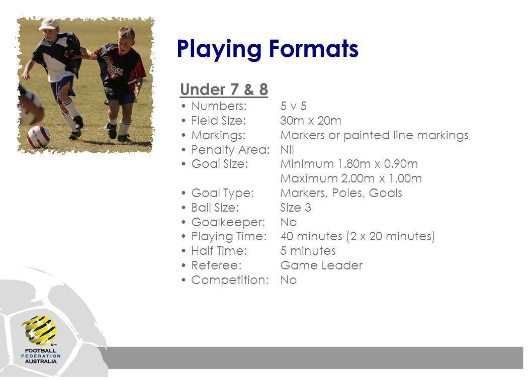 Playing Formats Under 7 & 8 Numbers:5 v 5 Field Size:30m x 20m Markings:Markers or painted line markings Penalty Area:Nil Goal Size:Minimum 1.80m x 0.90m Maximum 2.00m x 1.00m Goal Type:Markers, Poles, Goals Ball Size:Size 3 Goalkeeper:No Playing Time:40 minutes (2 x 20 minutes) Half Time:5 minutes Referee:Game Leader Competition:No
