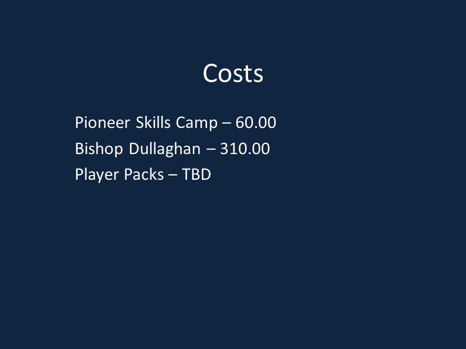 Costs Pioneer Skills Camp – 60.00 Bishop Dullaghan – 310.00 Player Packs – TBD
