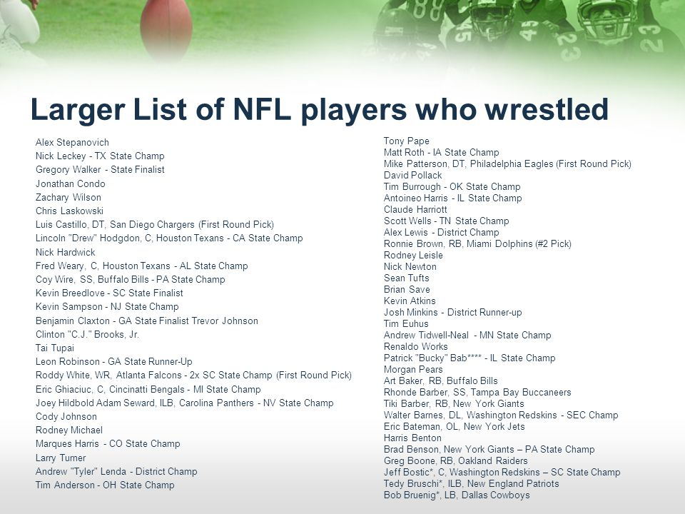 Larger List of NFL players who wrestled Alex Stepanovich Nick Leckey - TX State Champ Gregory Walker - State Finalist Jonathan Condo Zachary Wilson Ch