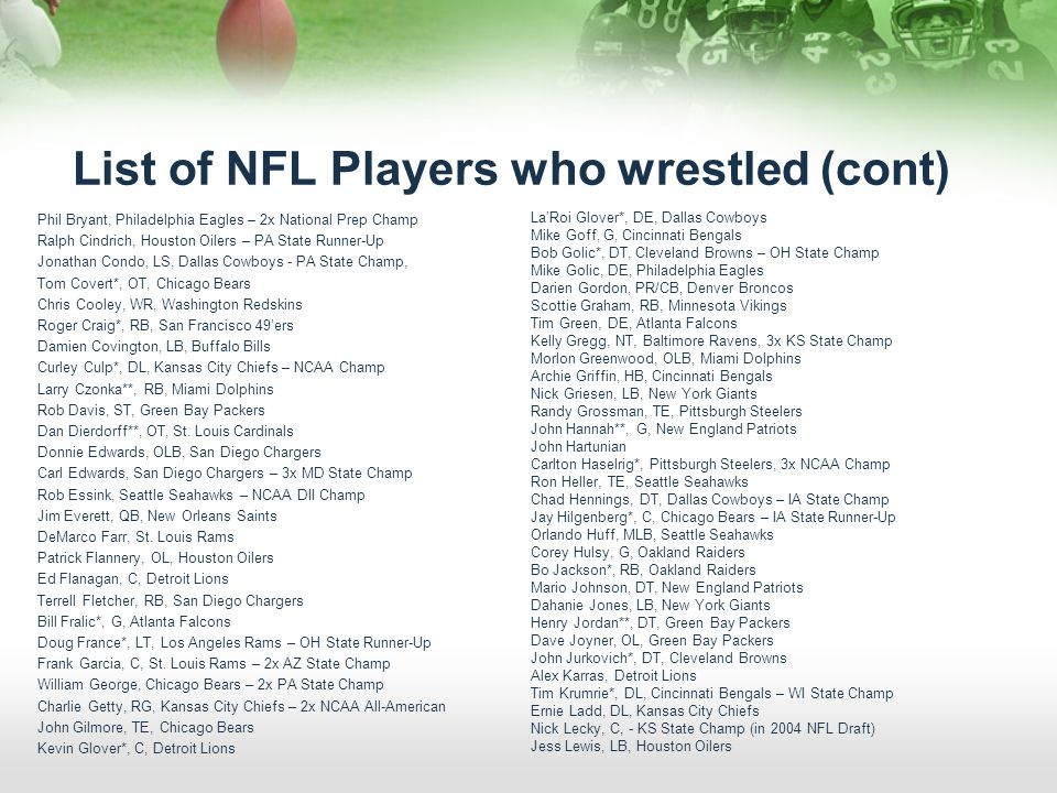 List of NFL Players who wrestled (cont) Phil Bryant, Philadelphia Eagles – 2x National Prep Champ Ralph Cindrich, Houston Oilers – PA State Runner-Up Jonathan Condo, LS, Dallas Cowboys - PA State Champ, Tom Covert*, OT, Chicago Bears Chris Cooley, WR, Washington Redskins Roger Craig*, RB, San Francisco 49ers Damien Covington, LB, Buffalo Bills Curley Culp*, DL, Kansas City Chiefs – NCAA Champ Larry Czonka**, RB, Miami Dolphins Rob Davis, ST, Green Bay Packers Dan Dierdorff**, OT, St.