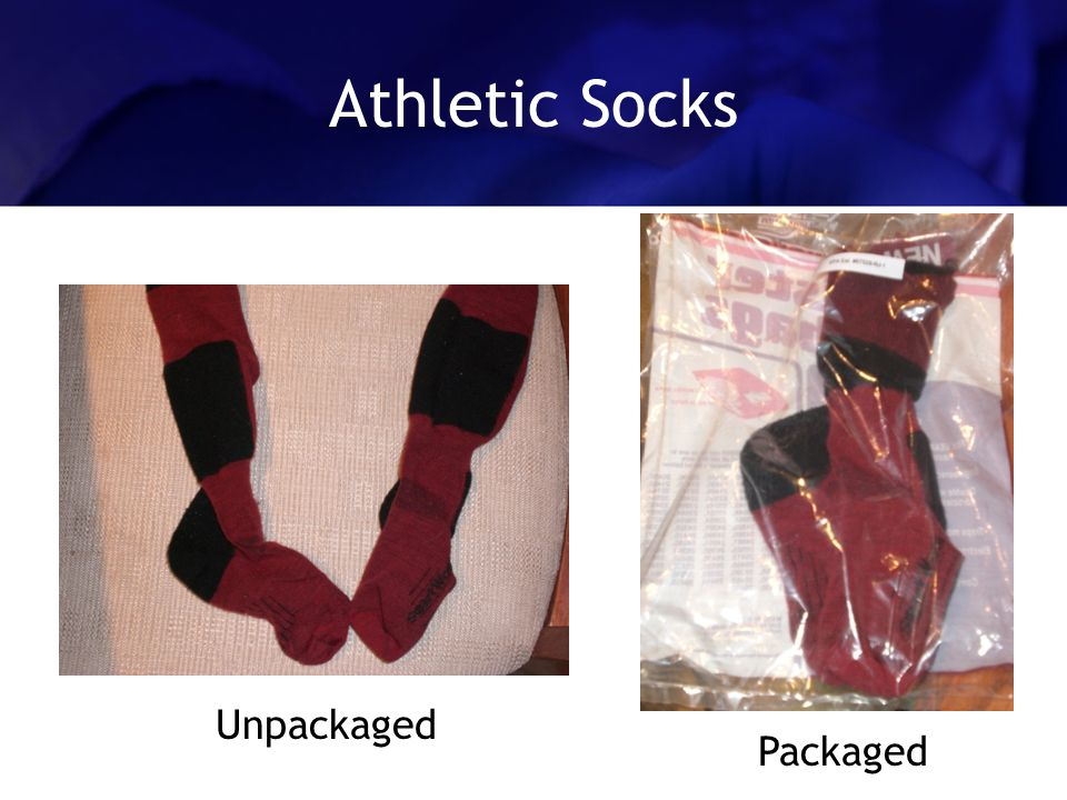 Athletic Socks Unpackaged Packaged