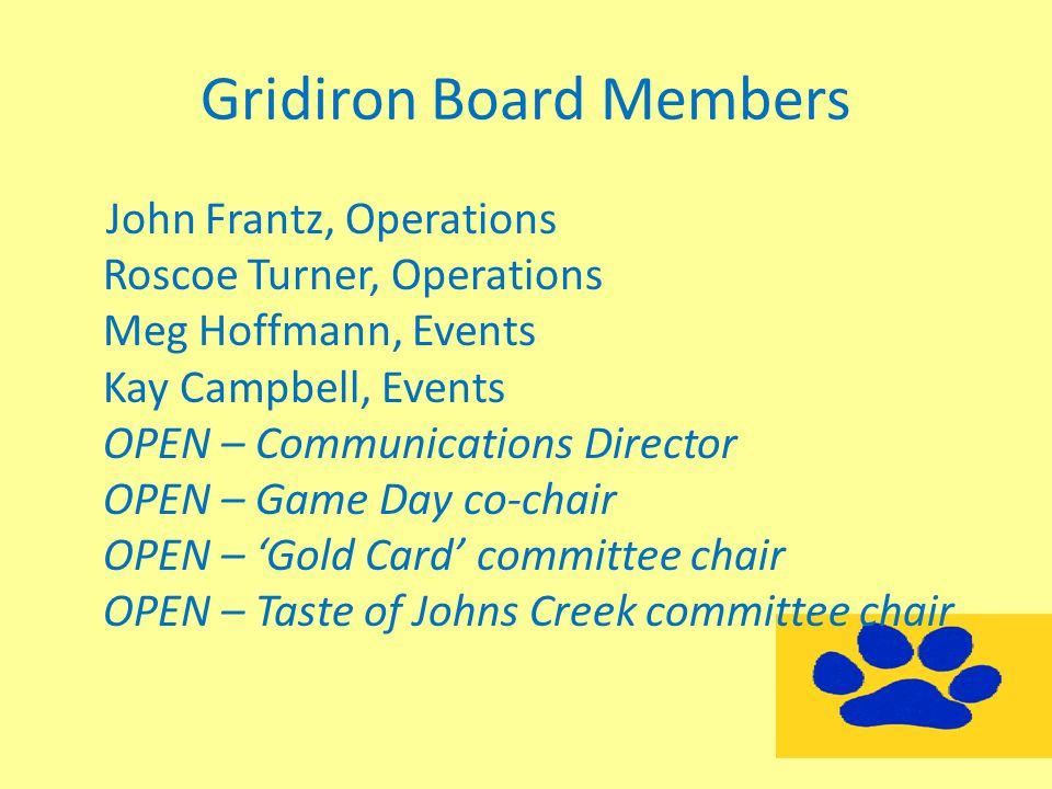 Gridiron Board Members John Frantz, Operations Roscoe Turner, Operations Meg Hoffmann, Events Kay Campbell, Events OPEN – Communications Director OPEN