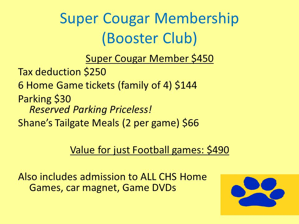 Super Cougar Membership (Booster Club) Super Cougar Member $450 Tax deduction $250 6 Home Game tickets (family of 4) $144 Parking $30 Reserved Parking