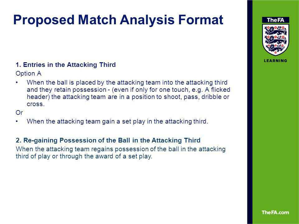 Making Attacks Count Achieving Effective Crosses Effective crosses are those released and executed correctly to arrive in the goalmouth creating the opportunity for an attempt at goal.