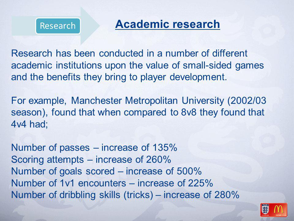 Academic research Research has been conducted in a number of different academic institutions upon the value of small-sided games and the benefits they