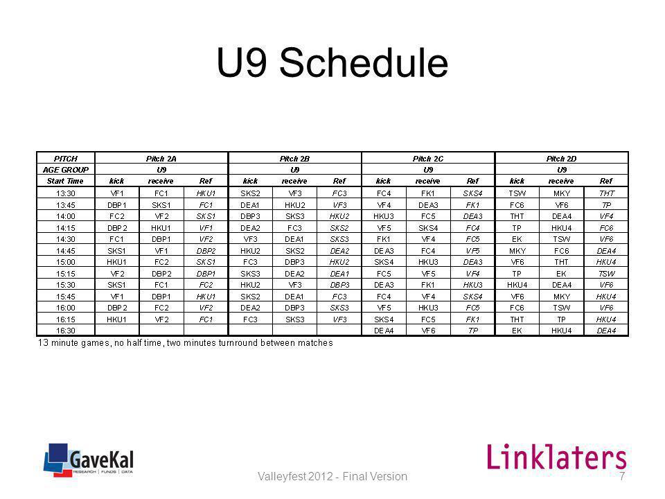 U10 Schedule Valleyfest 2012 - Final Version8
