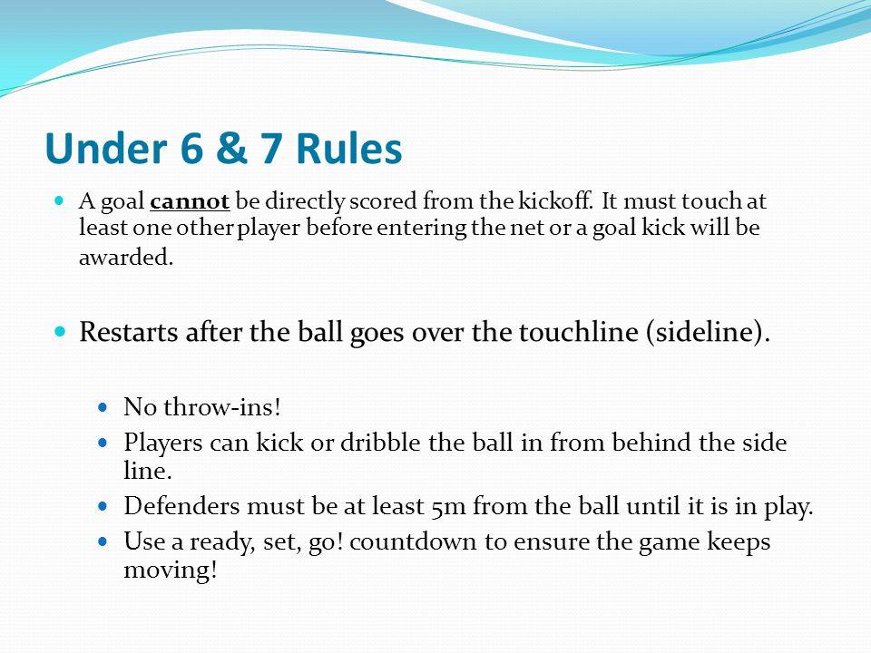 Under 6 & 7 Rules Restart after the ball crosses the goal line (back line).