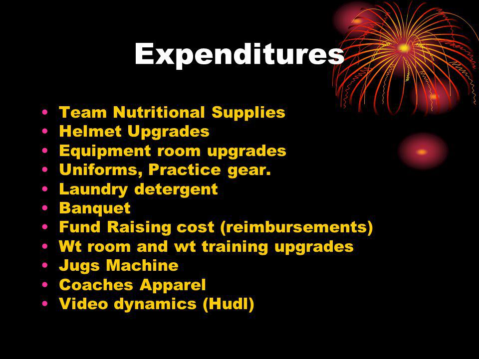 Expenditures Team Nutritional Supplies Helmet Upgrades Equipment room upgrades Uniforms, Practice gear.