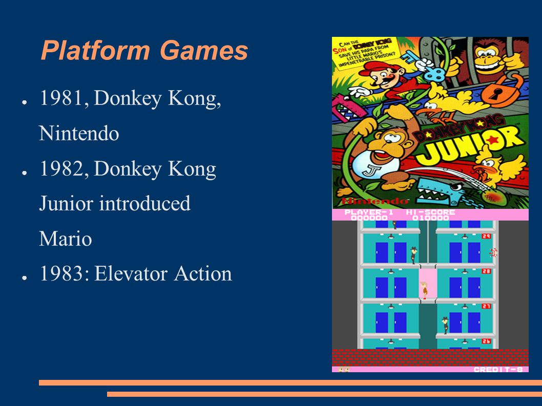 Platform Games 1981, Donkey Kong, Nintendo 1982, Donkey Kong Junior introduced Mario 1983: Elevator Action