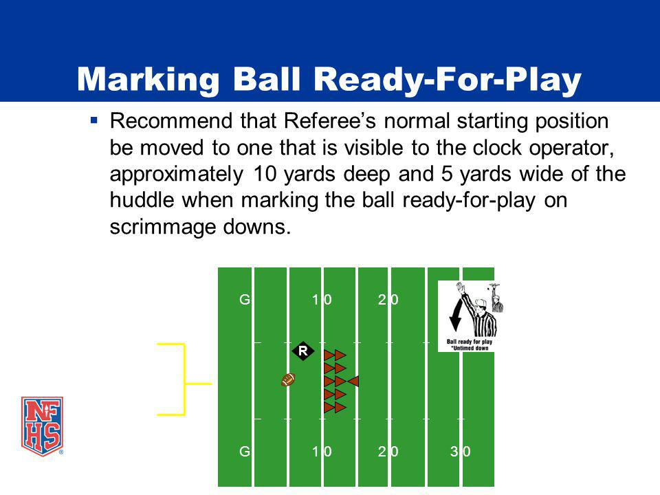 Marking Ball Ready-For-Play Recommend that Referees normal starting position be moved to one that is visible to the clock operator, approximately 10 yards deep and 5 yards wide of the huddle when marking the ball ready-for-play on scrimmage downs.