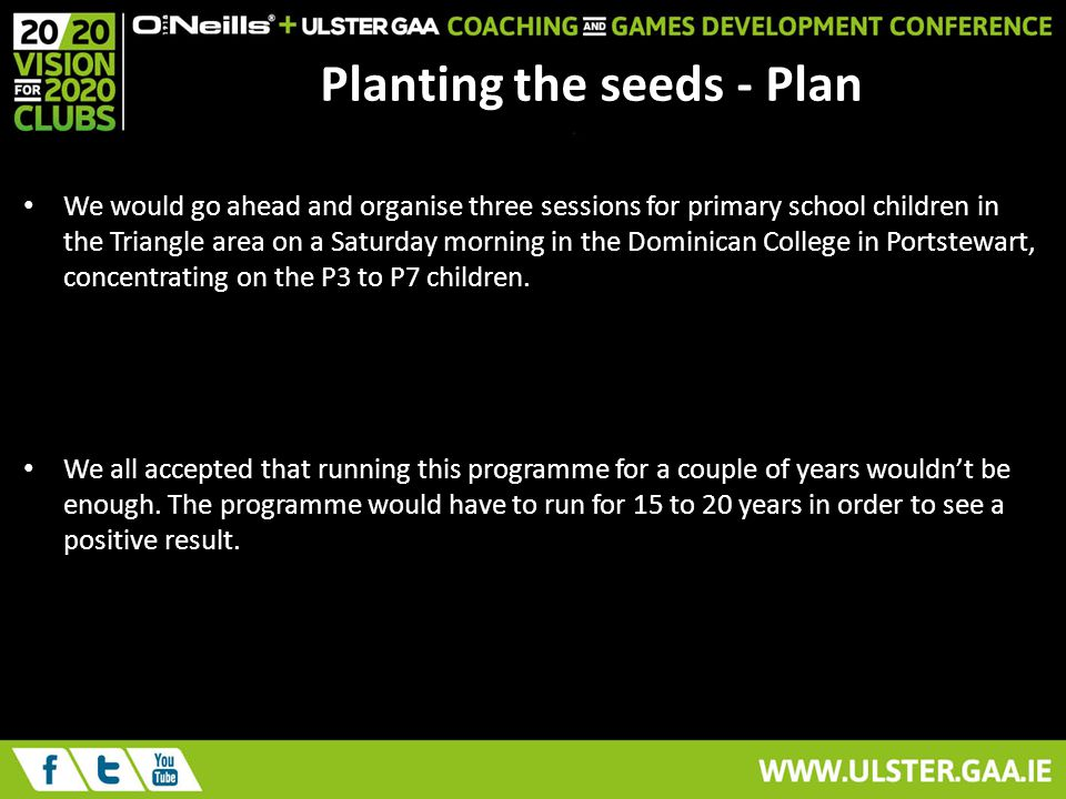Planting the seeds - Plan We would go ahead and organise three sessions for primary school children in the Triangle area on a Saturday morning in the Dominican College in Portstewart, concentrating on the P3 to P7 children.