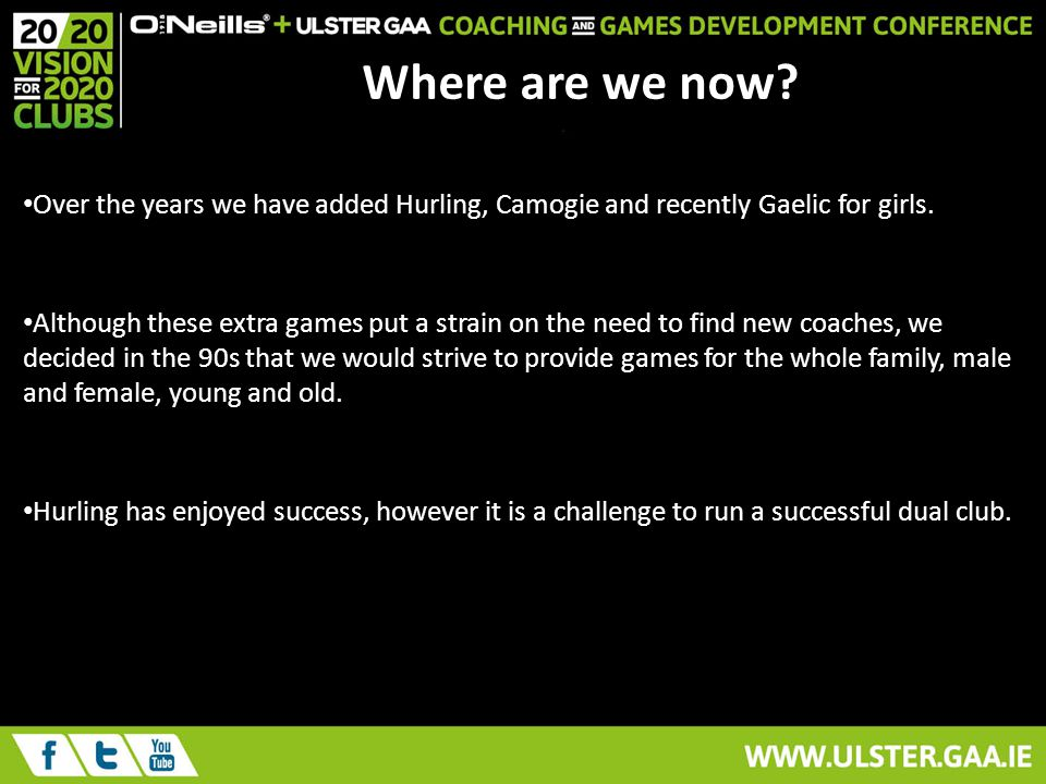 Where are we now. Over the years we have added Hurling, Camogie and recently Gaelic for girls.