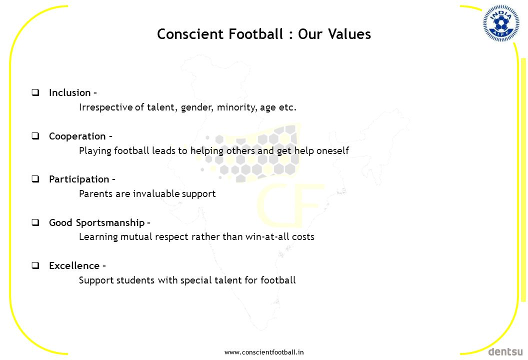www.conscientfootball.in Conscient Football : Our Values Inclusion – Irrespective of talent, gender, minority, age etc. Cooperation – Playing football
