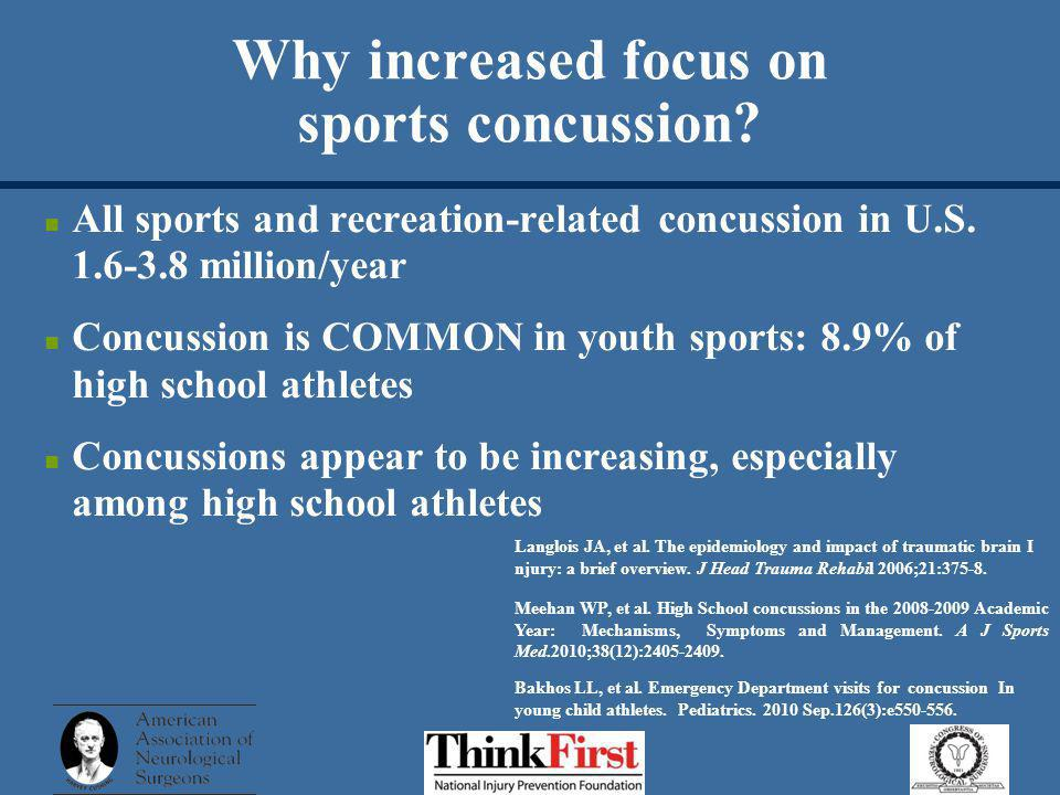 Why increased focus on sports concussion. All sports and recreation-related concussion in U.S.