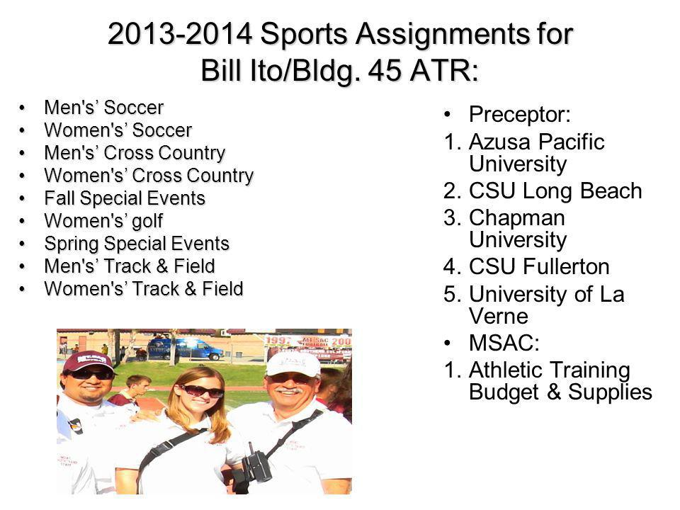 2013-2014 Sports Assignments for Bill Ito/Bldg. 45 ATR: Men's SoccerMen's Soccer Women's SoccerWomen's Soccer Men's Cross CountryMen's Cross Country W