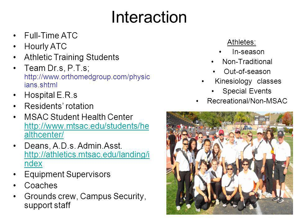 Interaction Full-Time ATC Hourly ATC Athletic Training Students Team Dr.s, P.T.s; http://www.orthomedgroup.com/physic ians.shtml Hospital E.R.s Reside