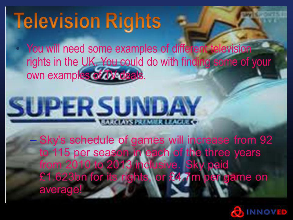 You will need some examples of different television rights in the UK. You could do with finding some of your own examples of TV deals. –Sky's schedule