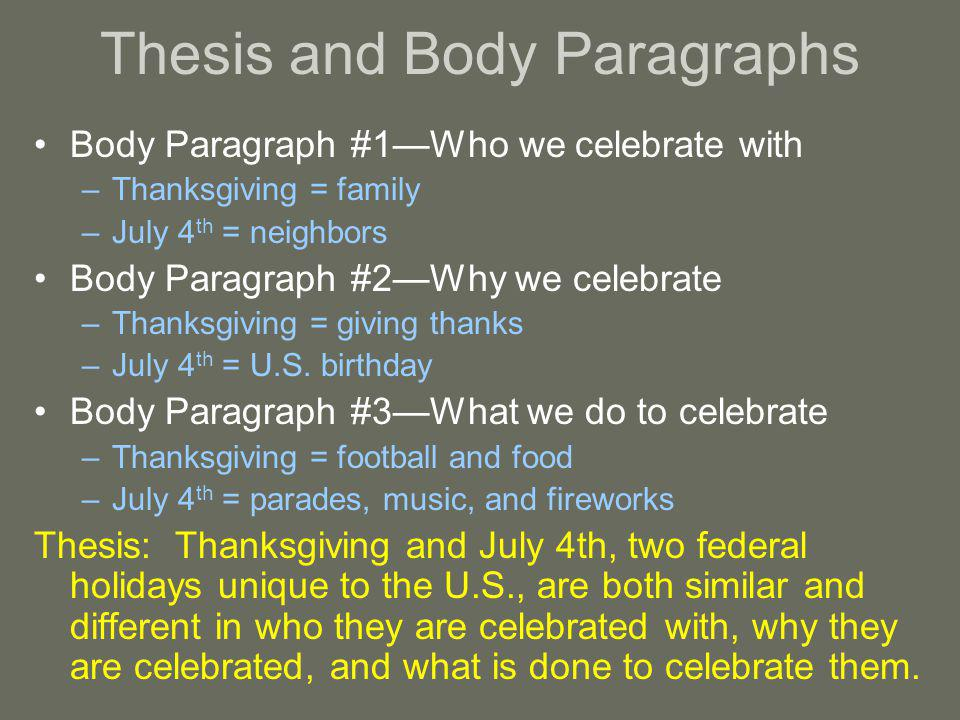 Thesis and Body Paragraphs Body Paragraph #1Who we celebrate with –Thanksgiving = family –July 4 th = neighbors Body Paragraph #2Why we celebrate –Thanksgiving = giving thanks –July 4 th = U.S.