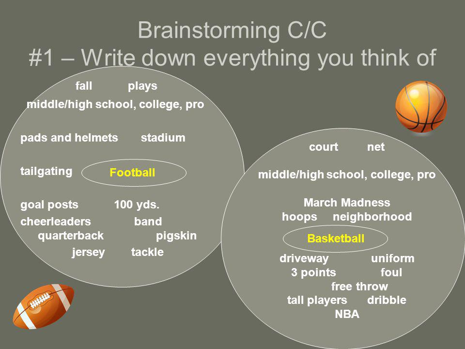 Brainstorming C/C #1 – Write down everything you think of fall plays middle/high school, college, pro pads and helmets stadium tailgating goal posts 100 yds.