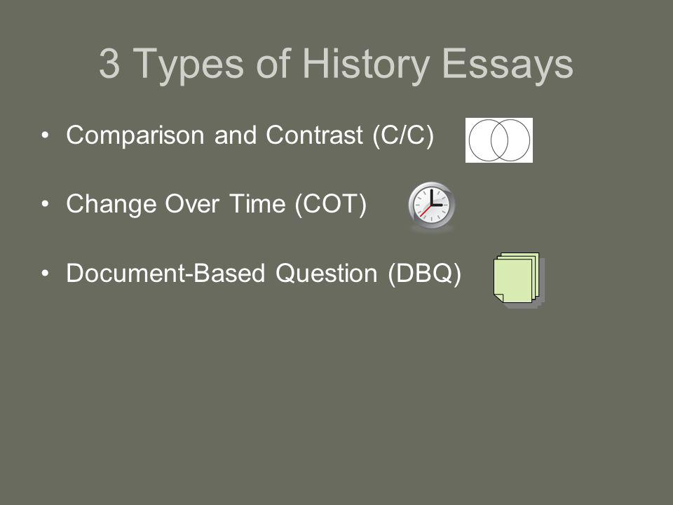 3 Types of History Essays Comparison and Contrast (C/C) –You gather information on two items or topics –Analyze what is the same and what is different between the two topics Change Over Time (COT) –COT is a type of C/C because you are comparing and contrasting one time and place with another time and place –Analyze what is the same and what is different between the two times Document-Based Question (DBQ) –A DBQ is an essay question that requires you to use documents in your response –Take a position from the essay question, analyze the documents and then choose documents which support your position