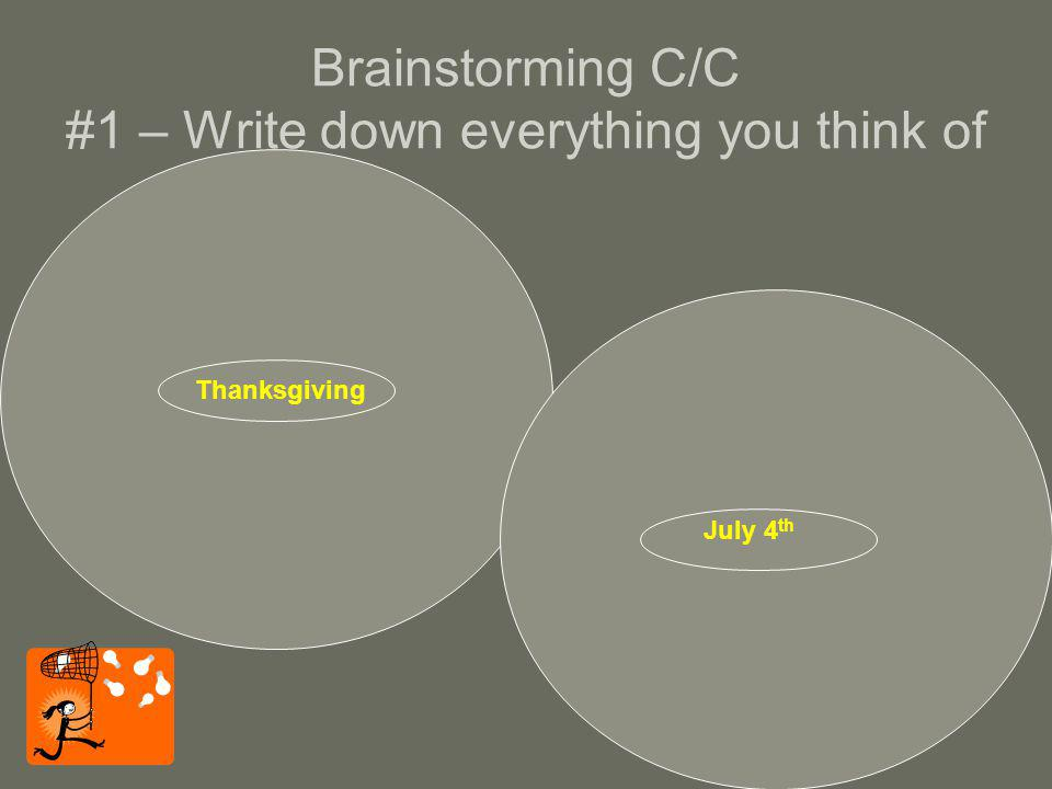 Brainstorming C/C #1 – Write down everything you think of Turkey Cranberries Pumpkin pie Family Football Pilgrims American Indians Corn Blessing Thursday Christmas shopping Final exams Cold Prayer Harvest cornucopia Travel charity BBQ Hot dogs Swimming Sousa Flags Red, white, blue Fireworks 1812 Overture Bands Picnics Parades Declaration of Independence Countrys birthday Holiday Uncle Sam Statue of Liberty Neighborhood baseball Thanksgiving July 4 th