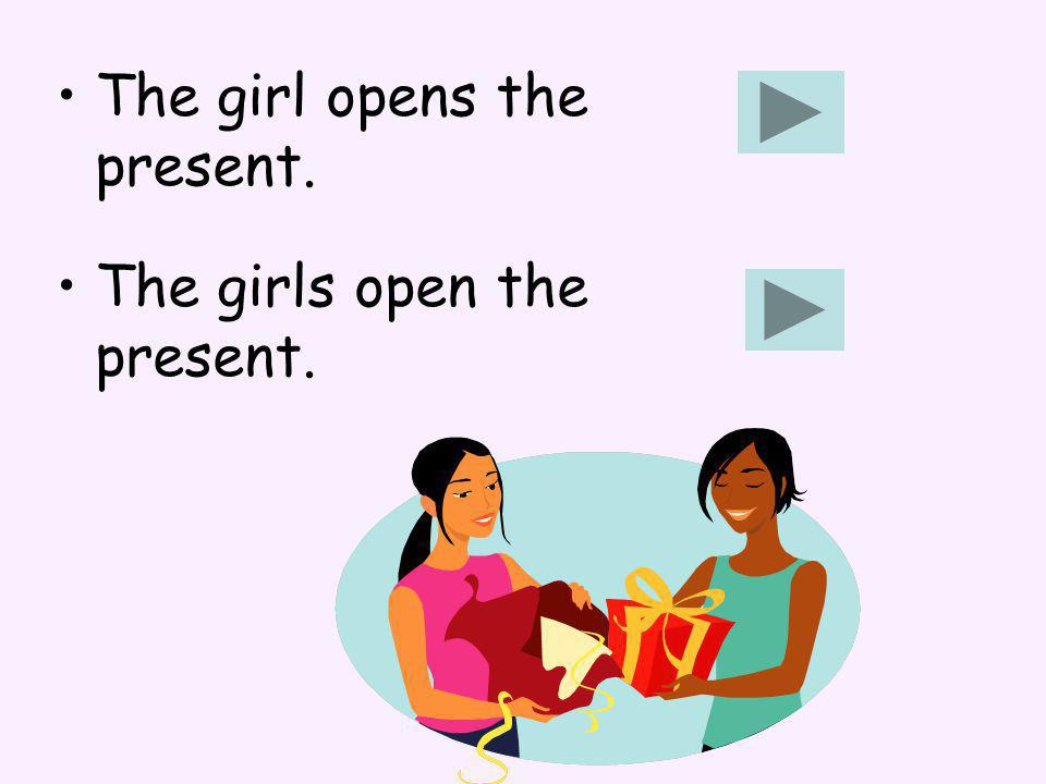 The girl opens the present. The girls open the present.