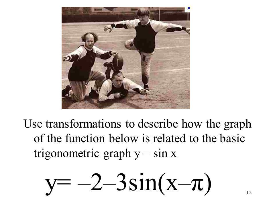 12 Use transformations to describe how the graph of the function below is related to the basic trigonometric graph y = sin x y= –2–3sin(x–π)