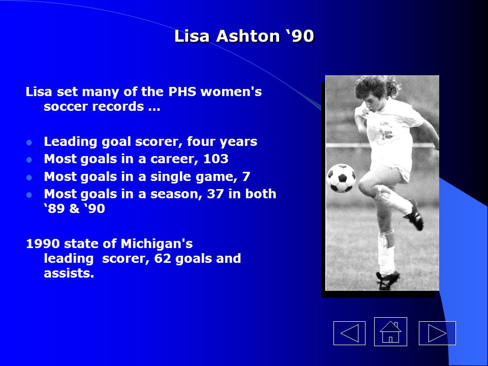 Lisa Ashton 90 After PHS … Graduate of the University of Michigan Started all four years on the UM soccer team Leading scorer for the UM team in 91, 92 & 93 Holds five records at UM including the most goals and assists in a career with 110 Assistant soccer coach at Marshall High School