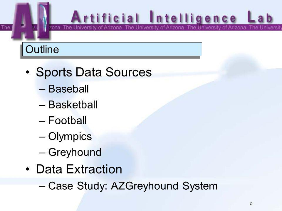 23 You can use the sports data sources introduced in this set of slides for your data mining project.