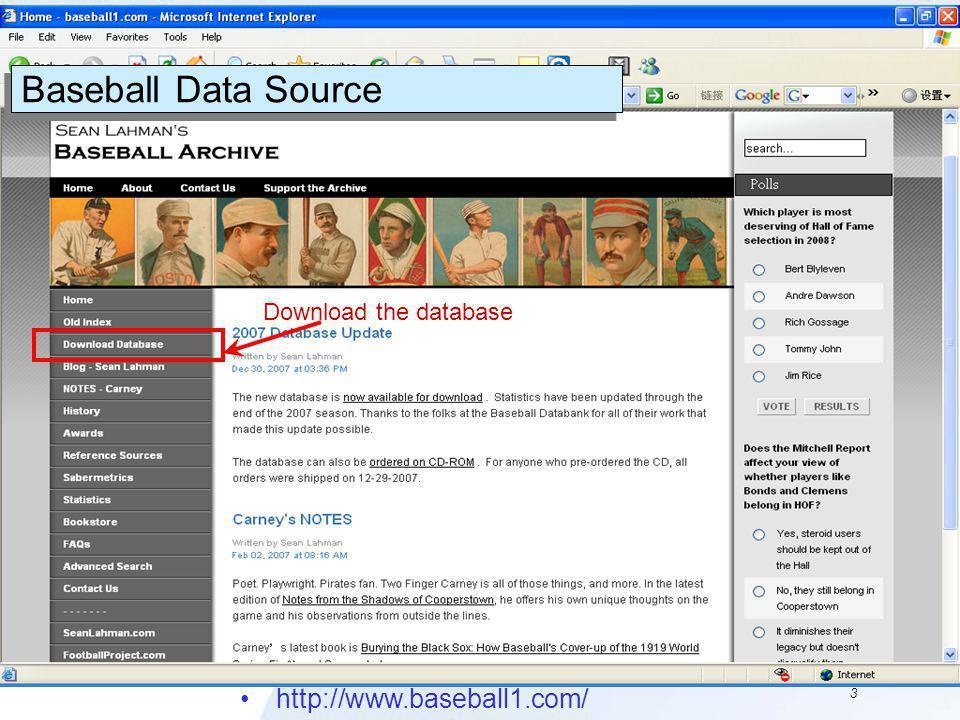 3 http://www.baseball1.com/ Baseball Data Source Download the database