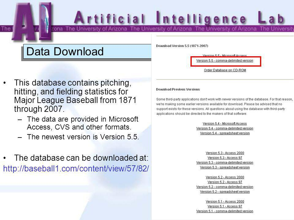 5 Database Detailed description of the database is available at: http://baseball1.com/content/view/57/82/ The database has 21 tables; main tables include: –MASTER Table- Player names, DOB, and biographical info; –Batting Table- batting statistics; –Pitching Table- pitching statistics; –Fielding Table- fielding statistics.