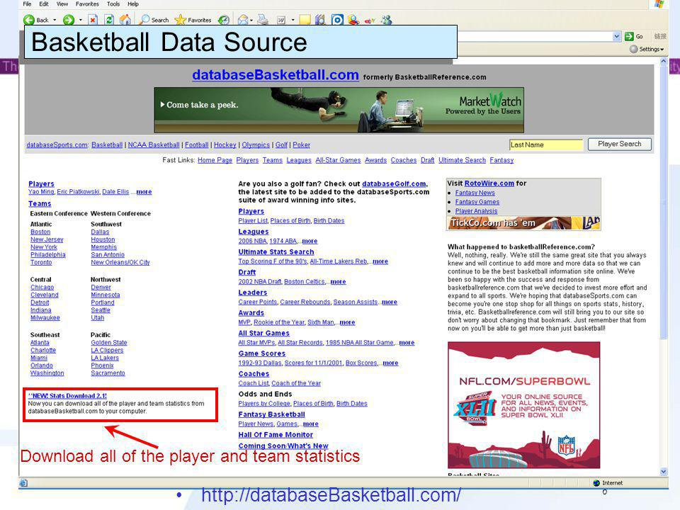 7 Data Download The website contains the NBA data from 1947 to 2007 and ABA data from 1968 to 1976 on players, teams, leagues, all-star games, awards, and coaches.