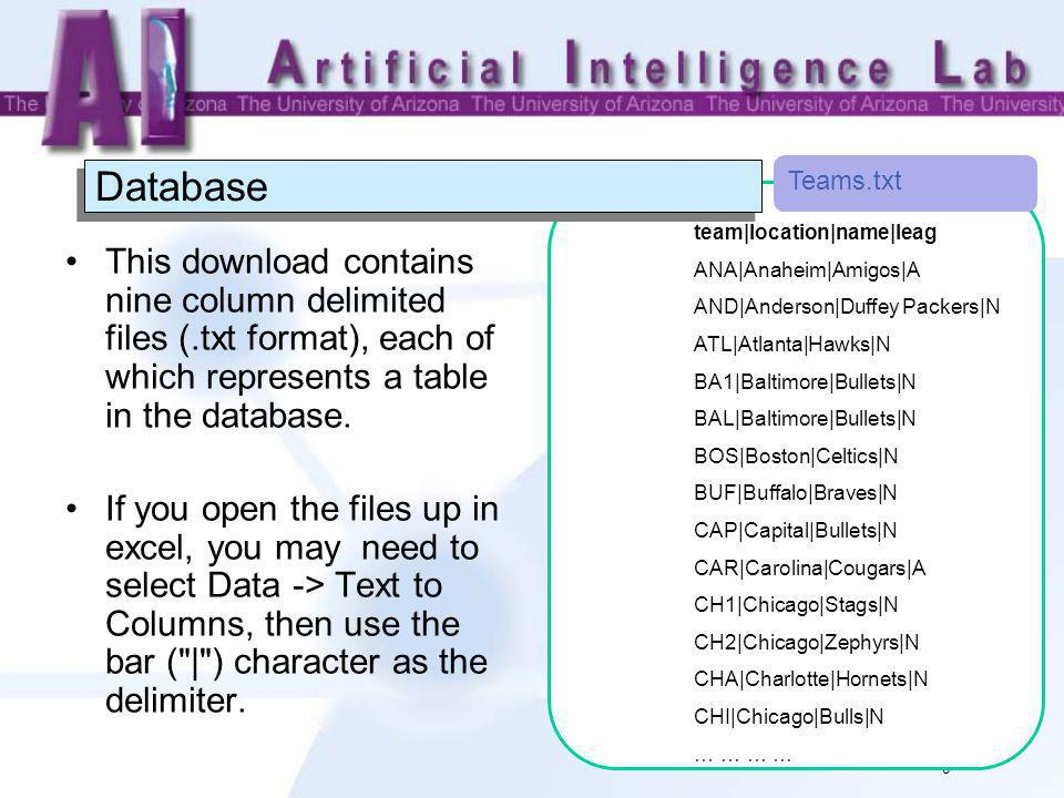 8 Database This download contains nine column delimited files (.txt format), each of which represents a table in the database.