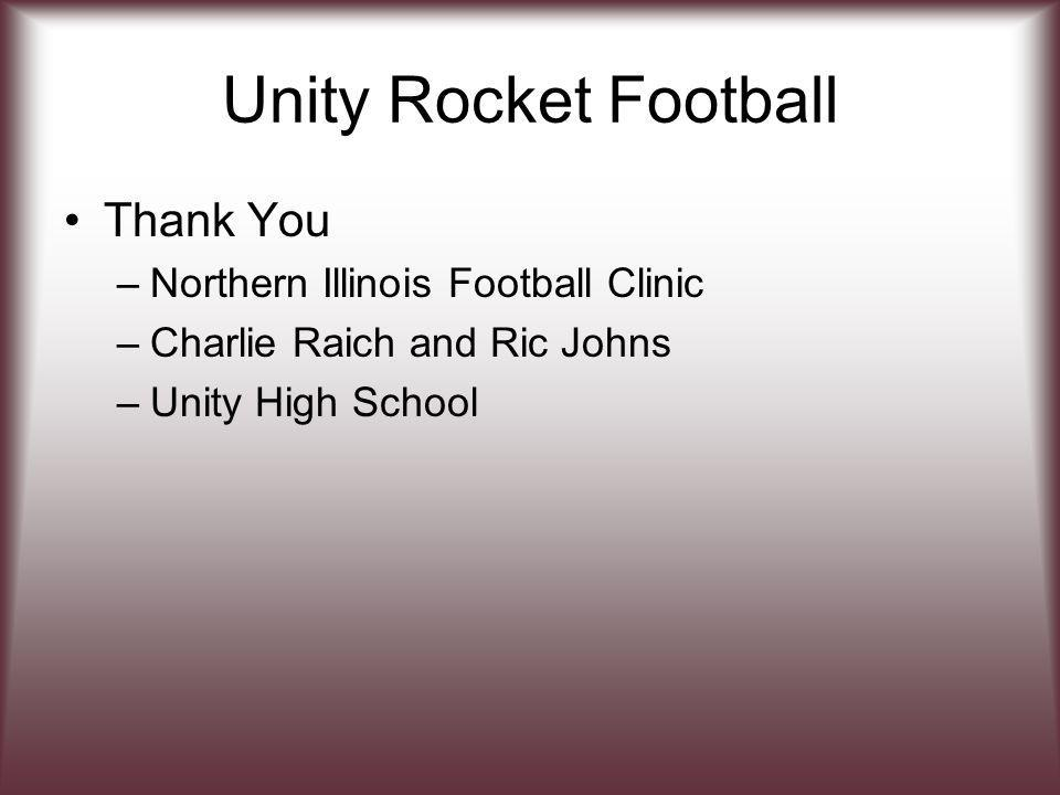 Unity Rocket Football Thank You –Northern Illinois Football Clinic –Charlie Raich and Ric Johns –Unity High School
