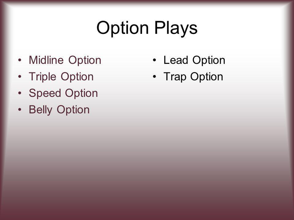 Option Plays Midline Option Triple Option Speed Option Belly Option Lead Option Trap Option