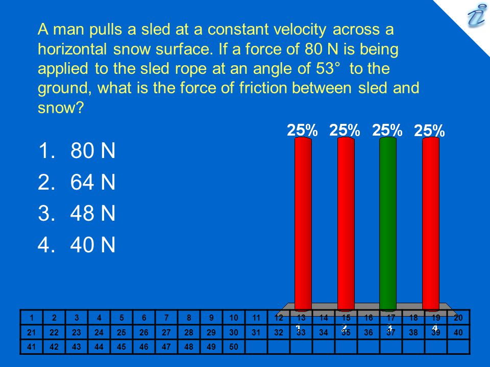 A 150 N sled is pulled up a 28 degree slope at a constant speed by a force of 100 N.
