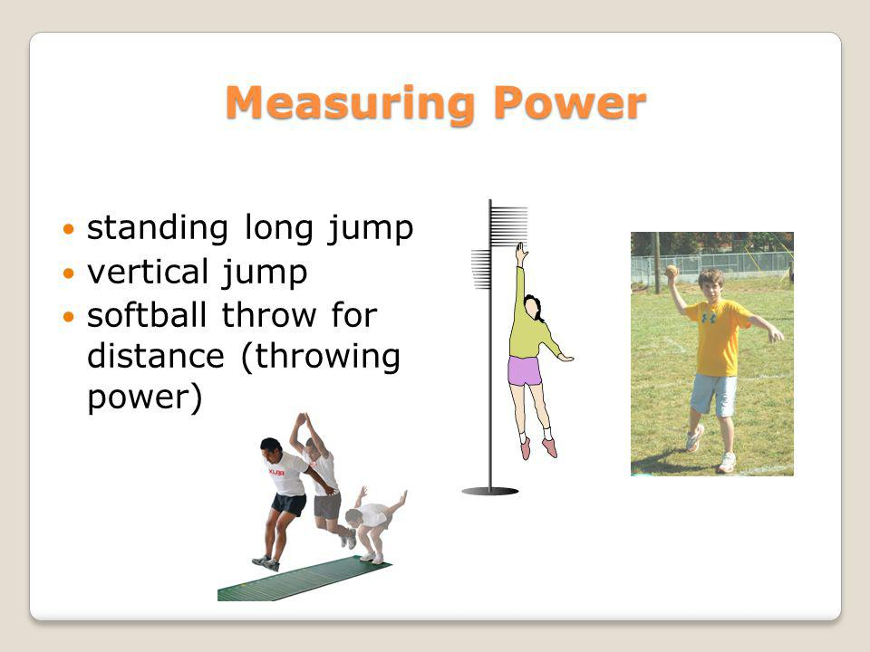 Measuring Power standing long jump vertical jump softball throw for distance (throwing power)