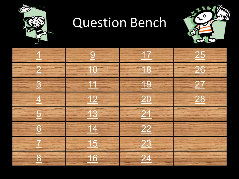 Question Bench 191725 2101826 3111927 4122028 51321 61422 71523 81624