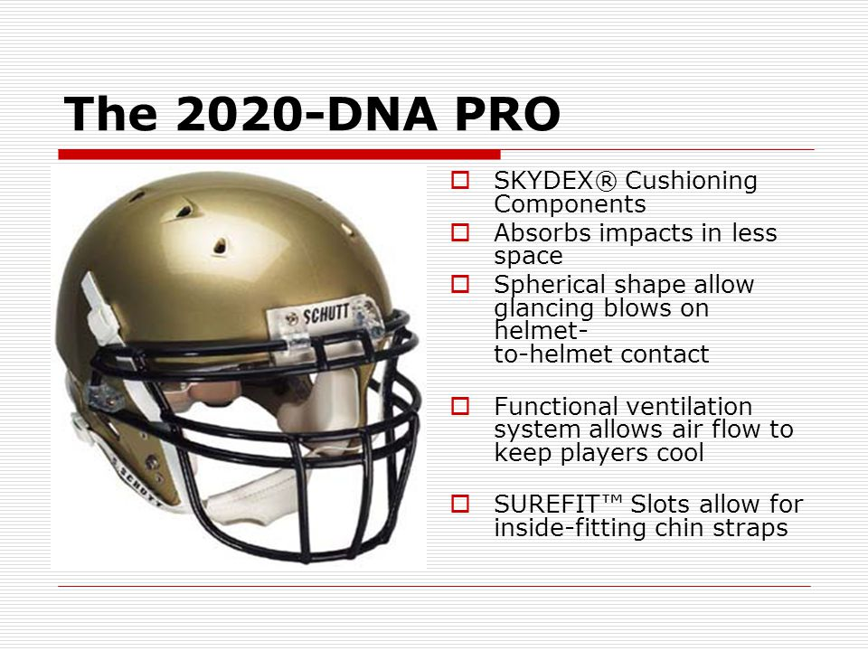 The 2020-DNA PRO SKYDEX® Cushioning Components Absorbs impacts in less space Spherical shape allow glancing blows on helmet- to-helmet contact Functio