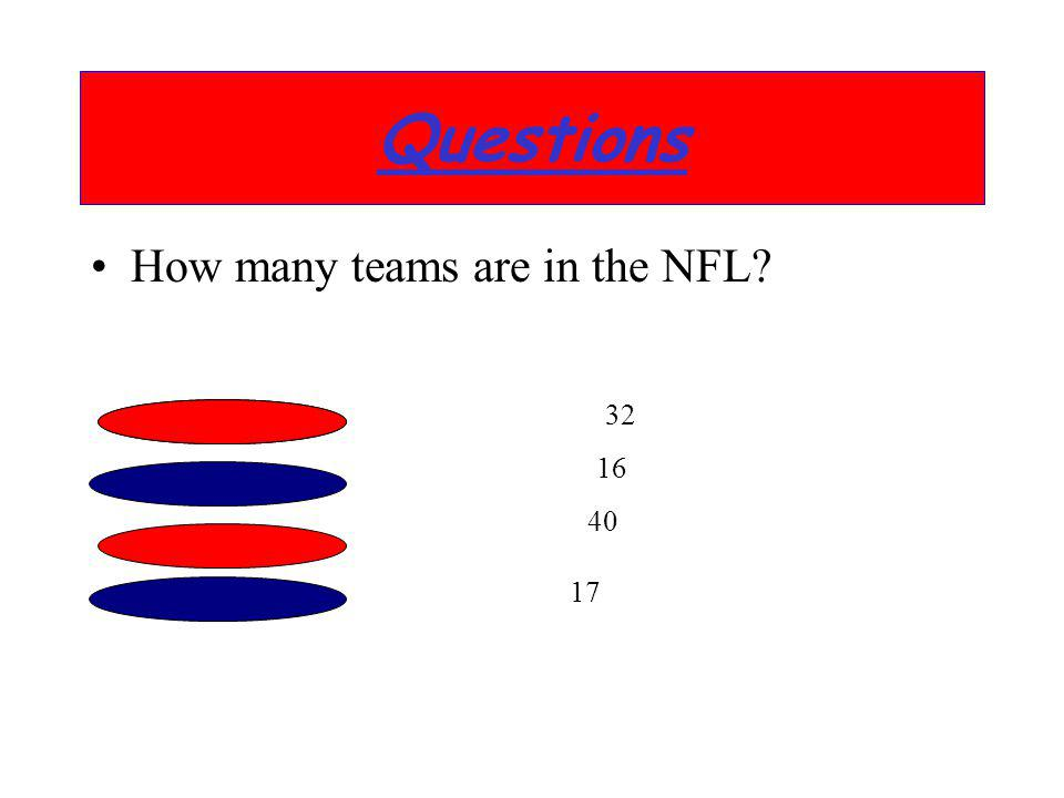 How many teams are in the NFL? Questions 32 16 40 17