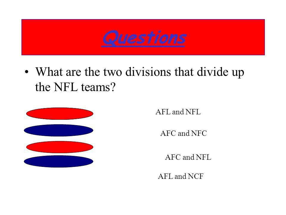 What are the two divisions that divide up the NFL teams? Questions AFL and NFL AFC and NFC AFC and NFL AFL and NCF